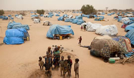 UNHCR refugee camp in Mangalze with Malian refugees.